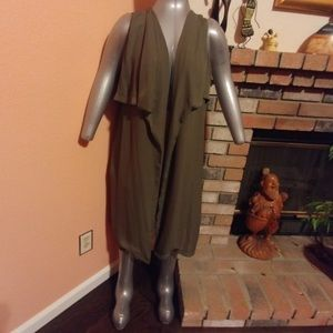 Olive Sleeveless Duster Coat